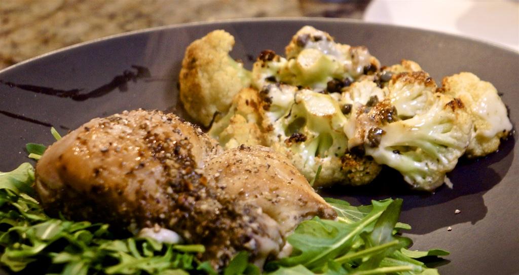Jan 12: Chicken wrap; Roast Cauliflower and Roast Chicken Leg