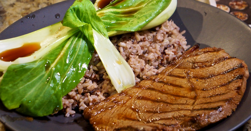Jan 14: Sushi; Marinated steak, wild rice and bok choy