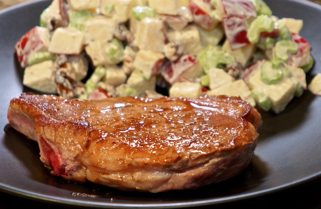Jan 16: Baked beans; Sous vide pork chops with Waldorf salad