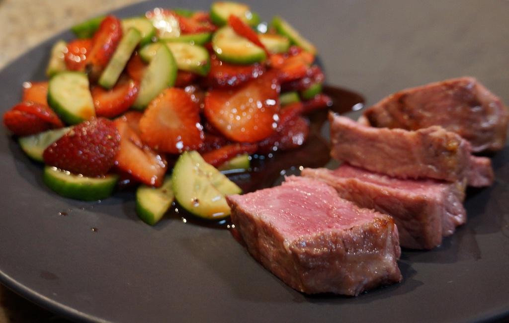 Feb 18: Avocado, sardine English Muffin; Steak and Strawberry salad