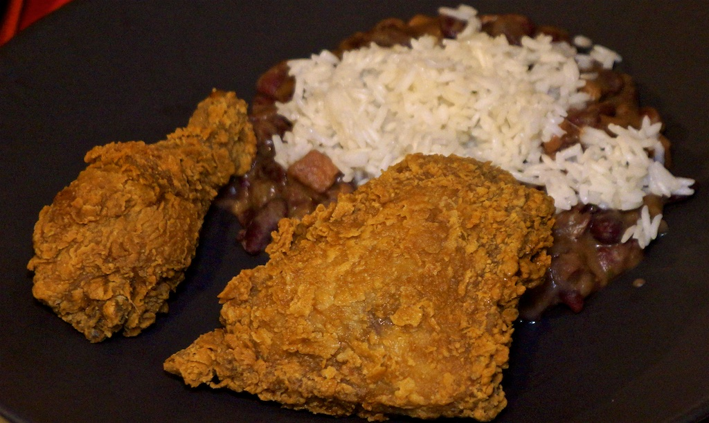 Feb 22:Hamburger; Red Beans and Rice with fried chicken