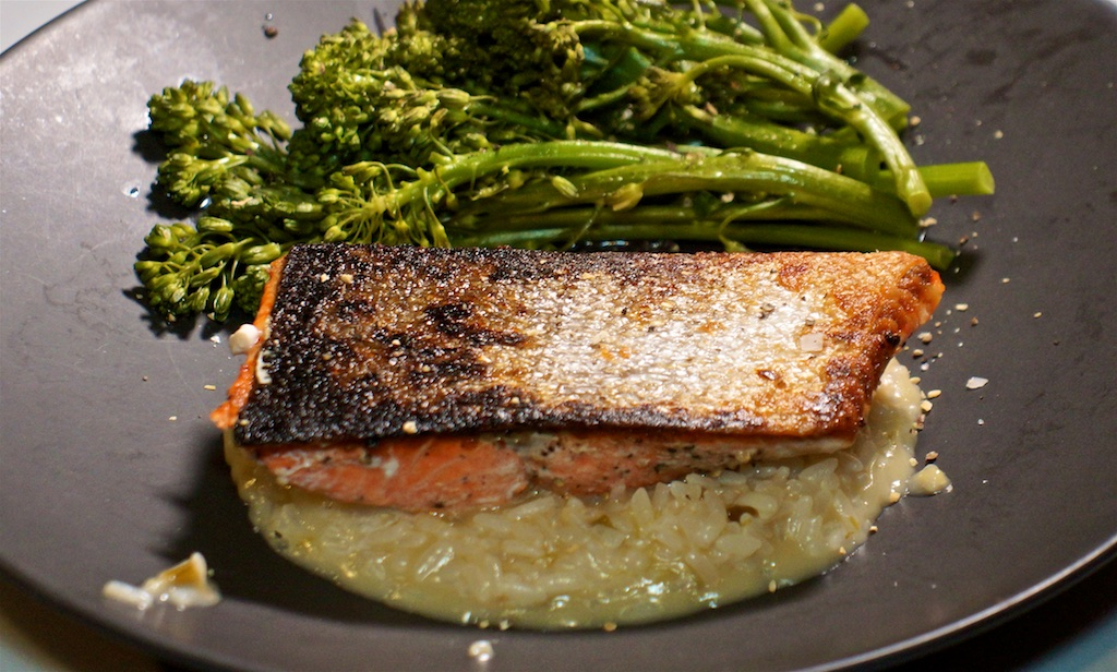 Feb 23: Salmon Chowder; Wild caught Salmon, lemon risotto and brocollini
