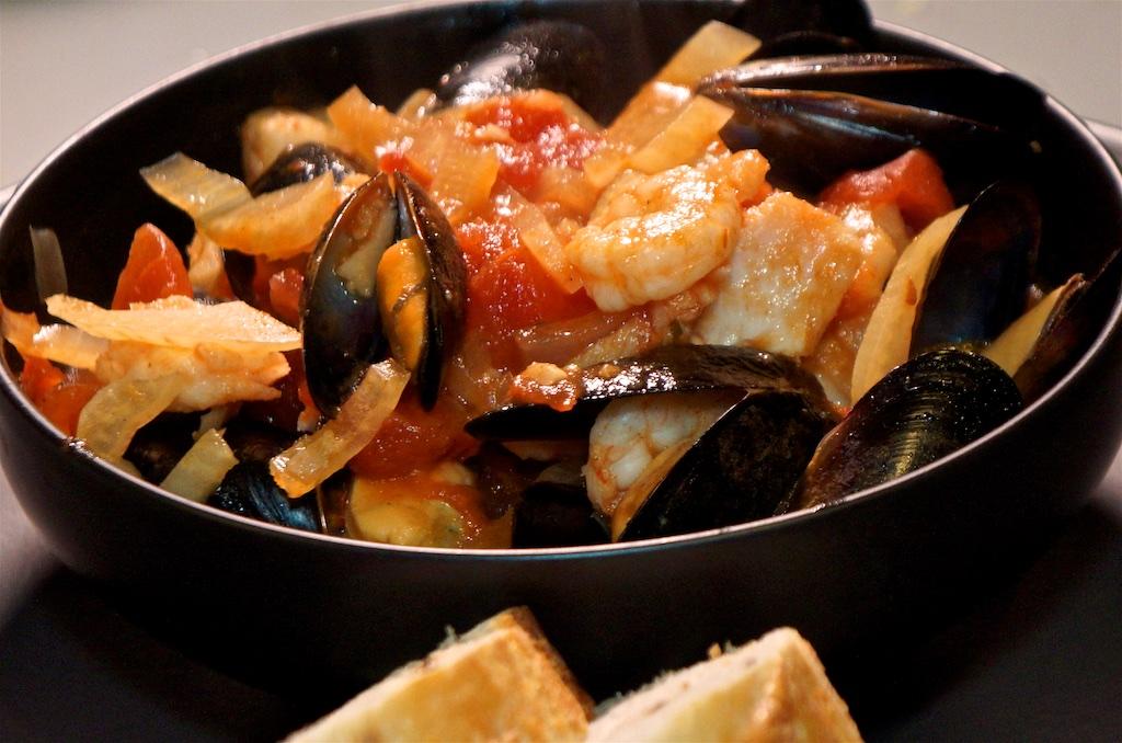 Mar 12: Smoked salmon bagel; Seafood Cioppino