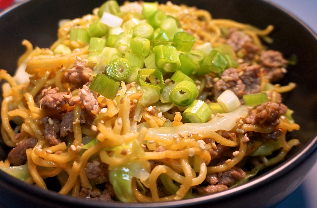 Mar 22: Pan Asian Lunch; Stir fry Noodles with Ground Pork and Napa Cabbage