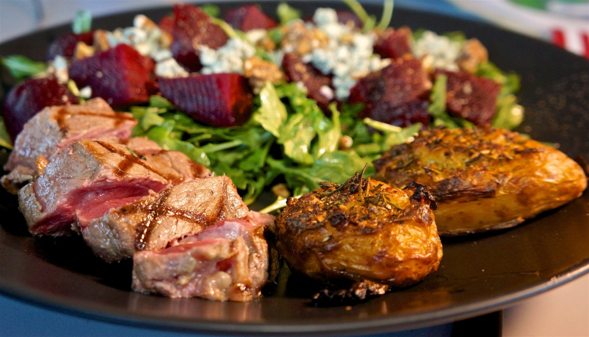Mar 24: Hot Cross Buns; NY Strip Steak, Crash Hot Potatoes, Arugula, beet and blue cheese salad