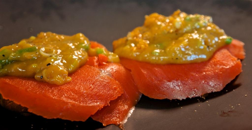 Mar 27: Smoked Salmon, cream cheese and slow cooked scrambled eggs; Cauliflower, Ham and Cheese