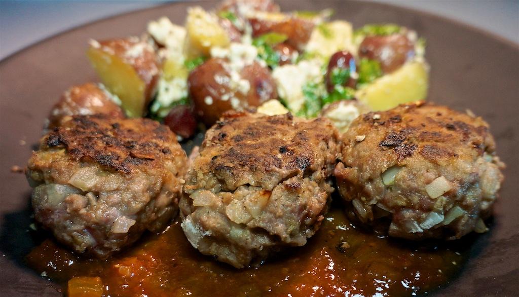 Apr 2: Popeye's chicken; Rissoles and Potato Salad