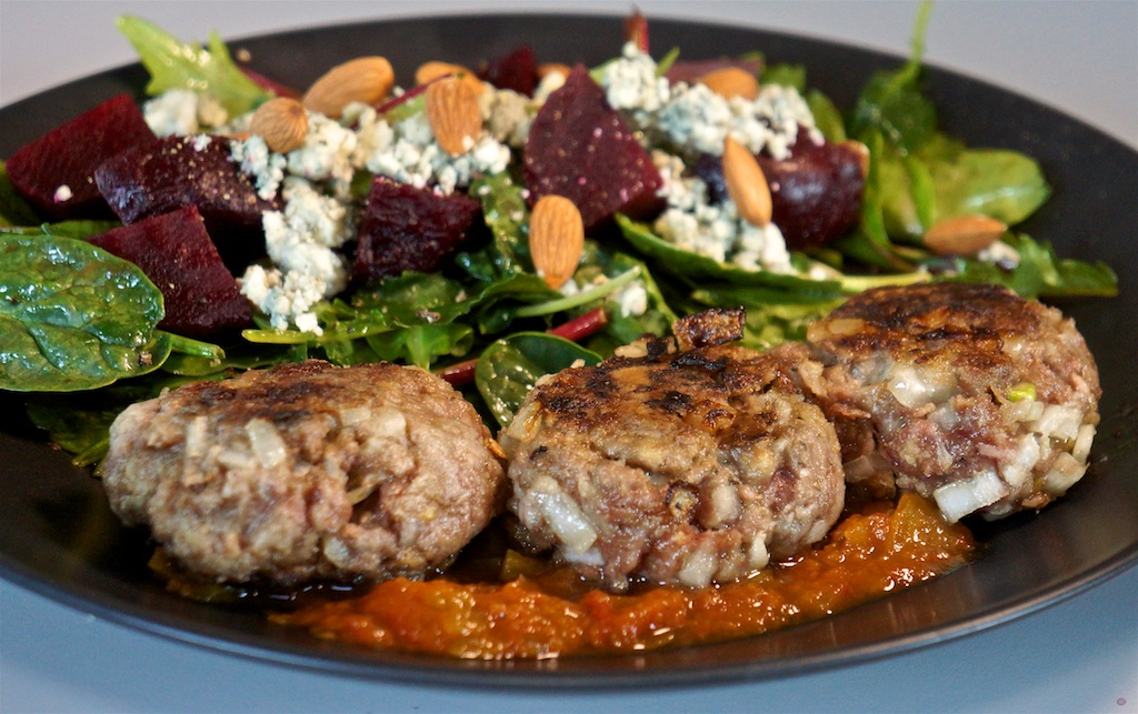 Apr 14: Chicken wraps; Rissoles with a beet, blue cheese and arugula salad