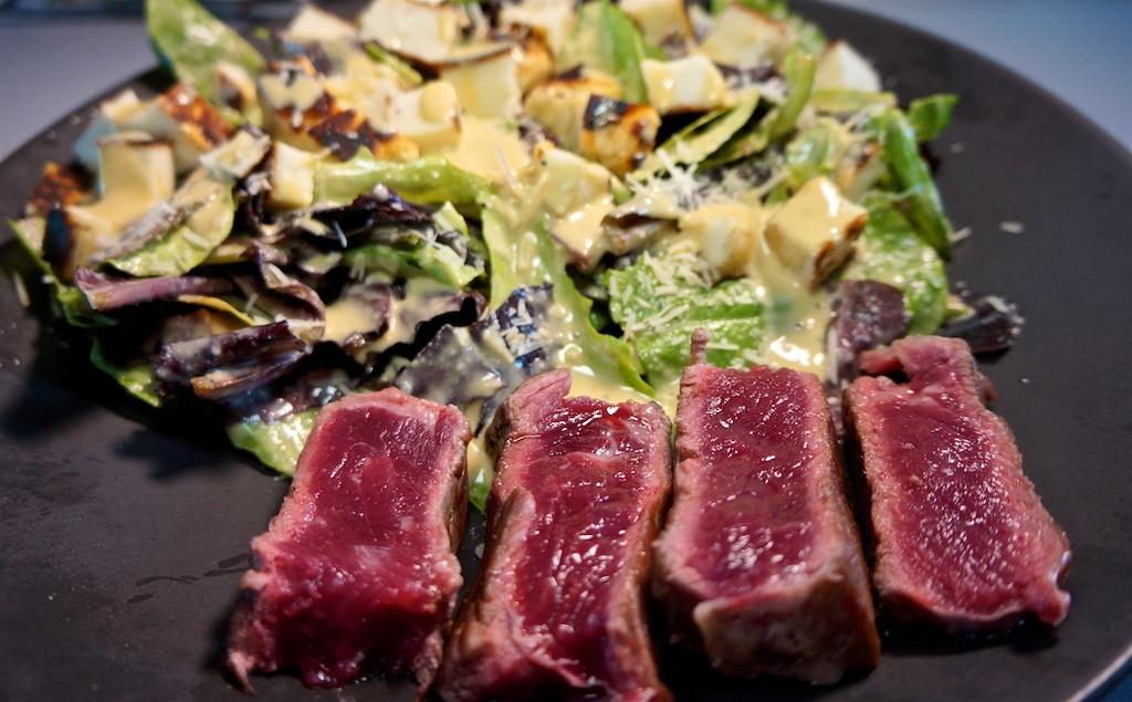 Apr 21: Quesadilla; NY Strip Steak with Caesar Salad