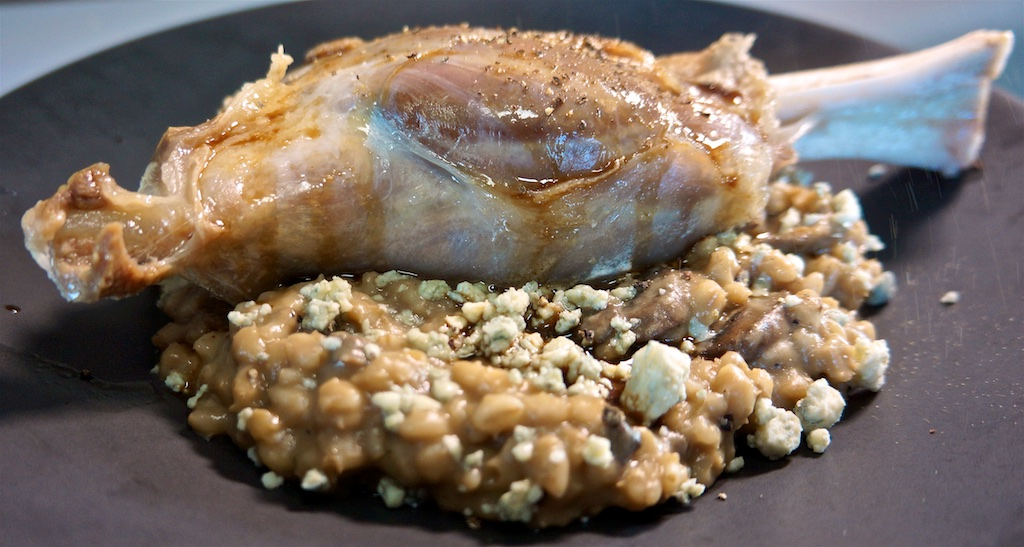 Apr 27: Baguette and toppings; Lamb Shank with Mushroom Barley Risotto