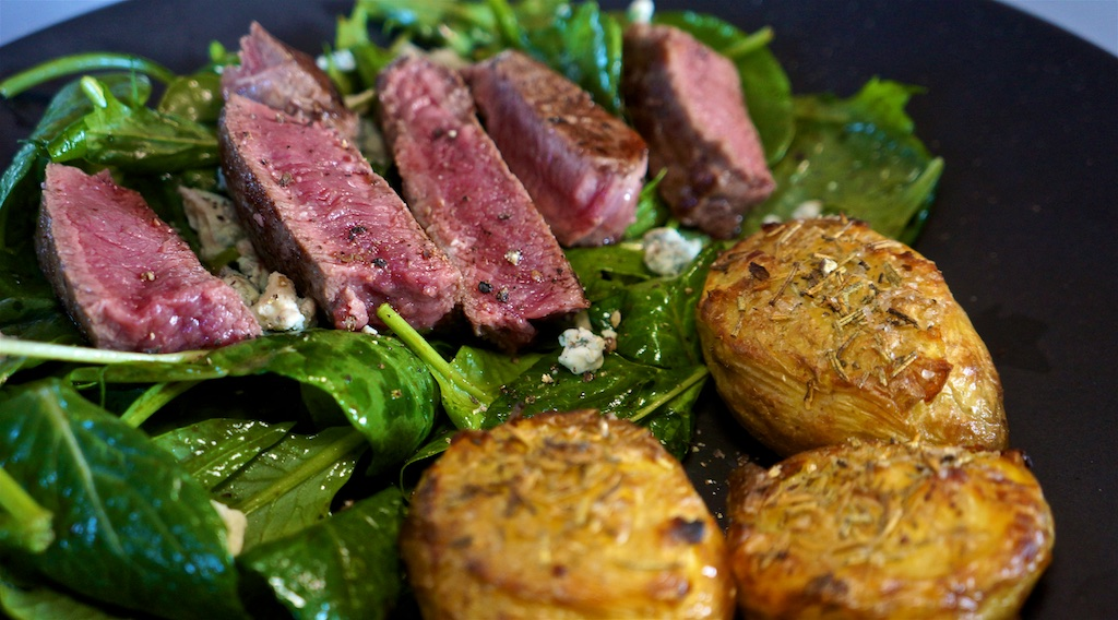 May 19: Tarte D'alsance; Top Sirloin, Crash Hot Potatoes, salad greens.