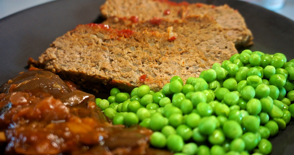 May 23: Hamburger; Meatloaf with Grecian Style Eggplant and peas