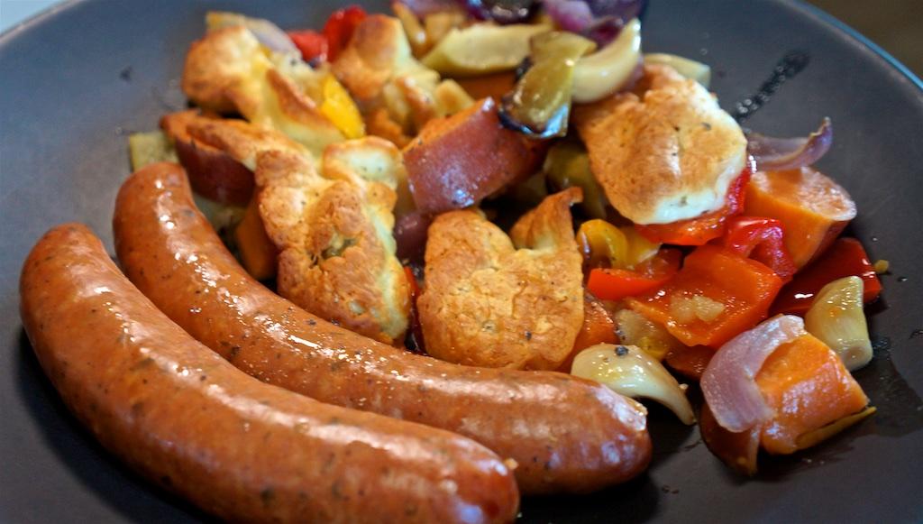 May 27: Chicken Wrap; Smoked Pork Sausage with Potato, Apple Halloumi Bake