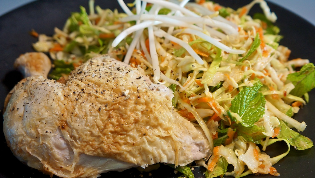 Jun 9: Smoked Salmon on an Onion Bagel; Roast Chicken with Vietnamese Salad