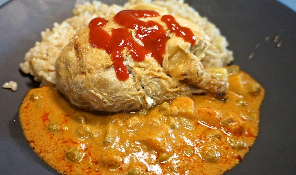 Jul 1: Trader Joe's Tarte D'alsace; Grilled Chicken, Jaipur Vegetables and Rice