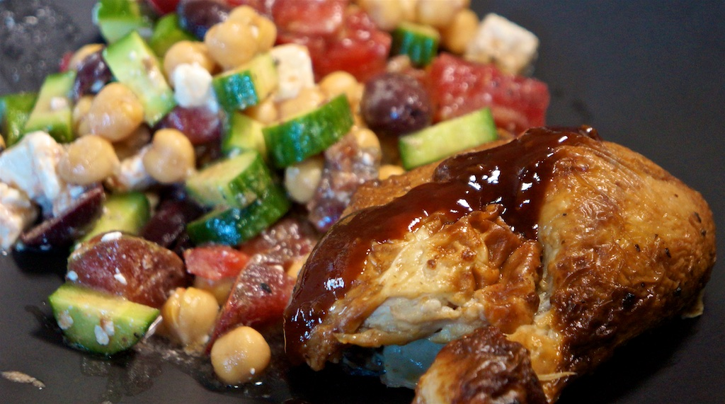 Jul 15: Bagel with toppings; Chicken Thigh with chick pea, tomato, cucumber, olive and feta salad