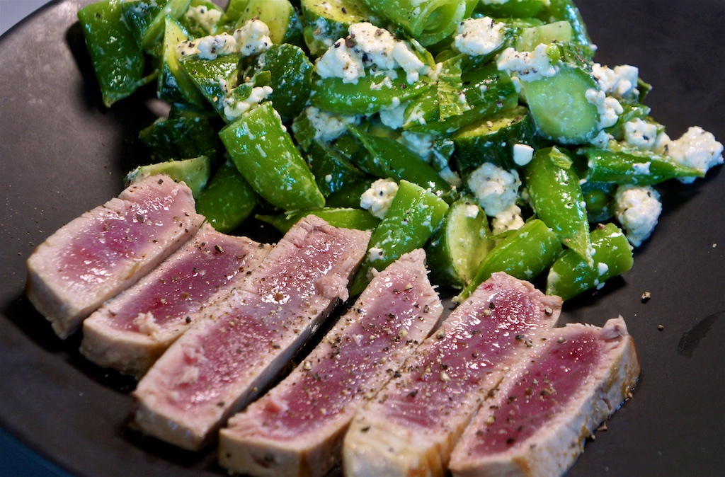 Jul 16: Country Deli; Seared Tuna with Cucumber, Snap Pea and Feta salad