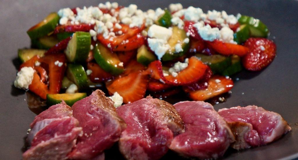 Jul 22: Huevos Rancheros; NY Strip Steak with Strawberry, Balsamic, Cucumber and Blue Cheese Salad
