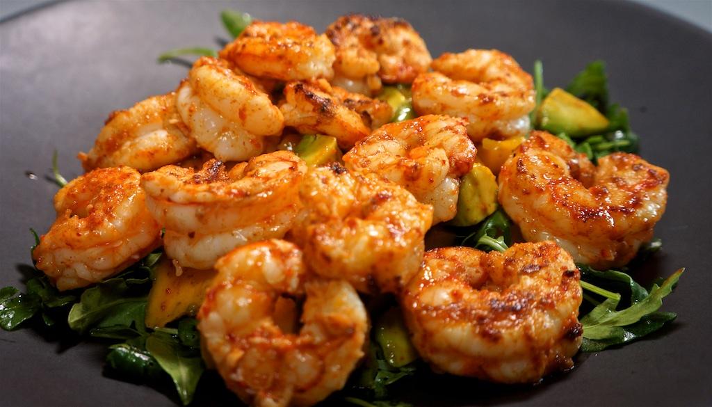 Jul 23: Tuna Wrap; Mango, Avocado and Arugula salad with Chili-lime Shrimp