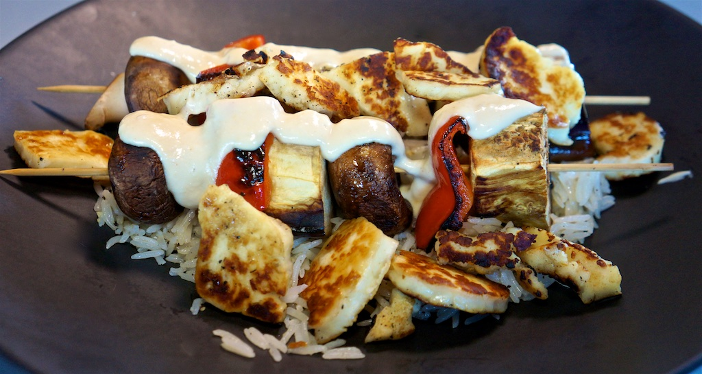 Aug 9: Quesadilla; Grilled Halloumi and Vegetable Kebabs with Lemon Rice