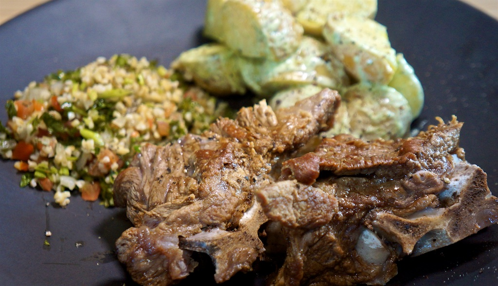 Aug 19: 'Picnic' Grazing Lunch; Lamb Neck Chops with Yoghurt Feta Dressing and Tabouli