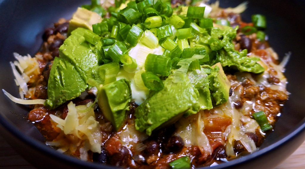Aug 27: Carnitas Burrito; Bacon and Black Bean Chili with cheddar, sour cream, avocado & green onions