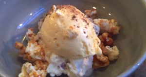 Corn ice cream, fresh raspberries, caramelized popcorn and goat mild yoghurt with chanterelles.