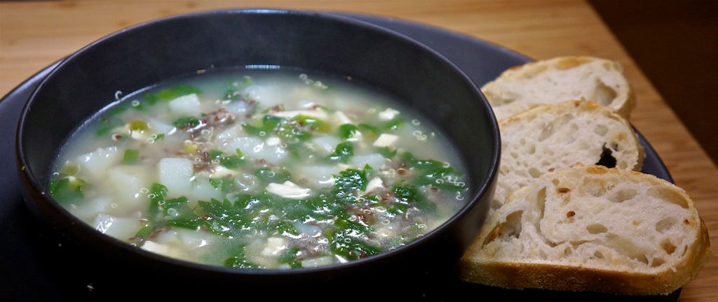 Jan 13: Country Deli; Quinoa Chowder with Spinach, Feta, and Scallions