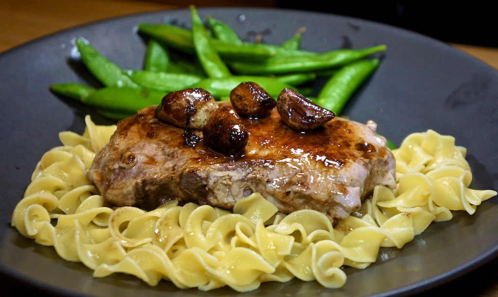 Mar 1: The Country Deli; Braised Pork Chops with Egg Noodles and Sugar Snap Peas