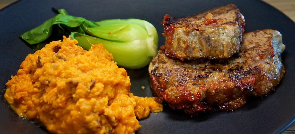 Apr 29: Popeye's Fried Chicken; Beef and Pork Meatloaf with Chipotle Sweet Potato Mash and Bok Choy