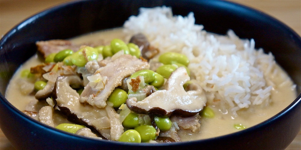 May 14: Smokey Cheese and Pumpkin Slice; Pork, Shiitake and Edamame in Coconut Cream Sauce