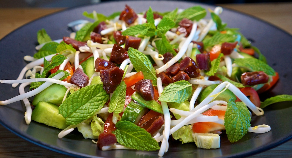 May 23: Yeros Wraps; Crunchy Thai Salad with Beef Jerky