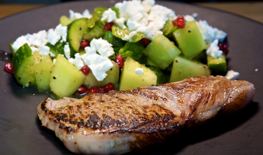 Jun 2: Smoked Salmon on an Onion Bagel; Seared Pork Chops with Cucumber, Melon and Feta Salad