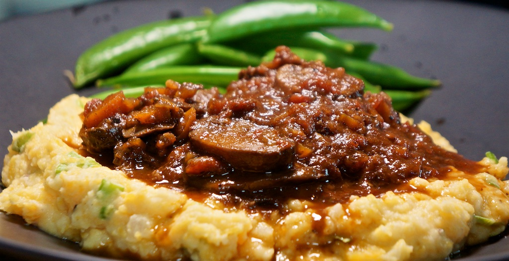 Jun 9: Yeros Wrap; Shredded Beef Ragu, 'Yellow Mash' and Sugar Snap Peas
