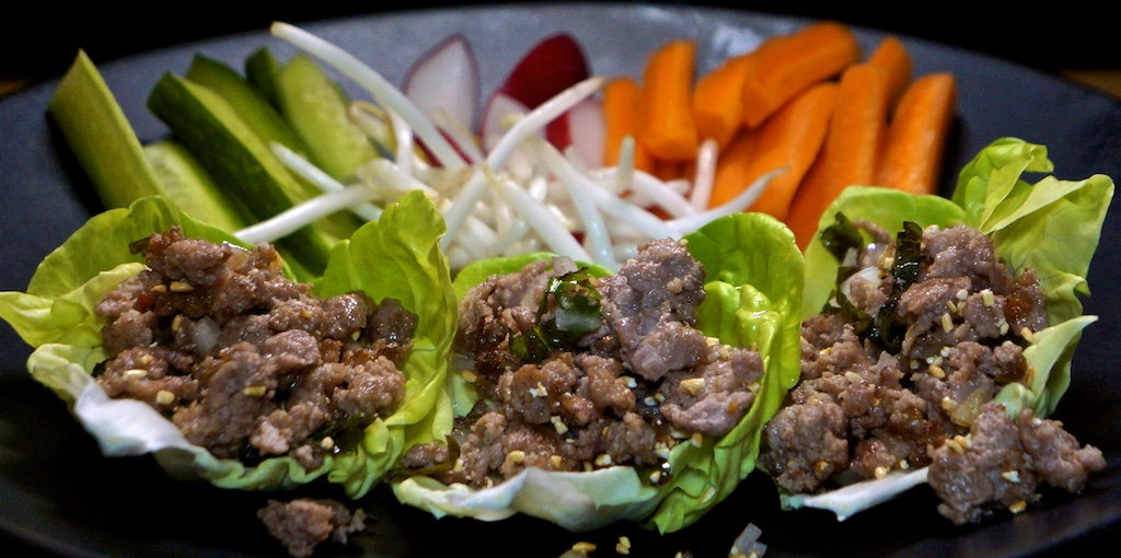 Jun 24: Mixed Sandwiches; Pork Larb Lettuce Wrap with Cucumber, Radish, Carrot and Bean Sprouts
