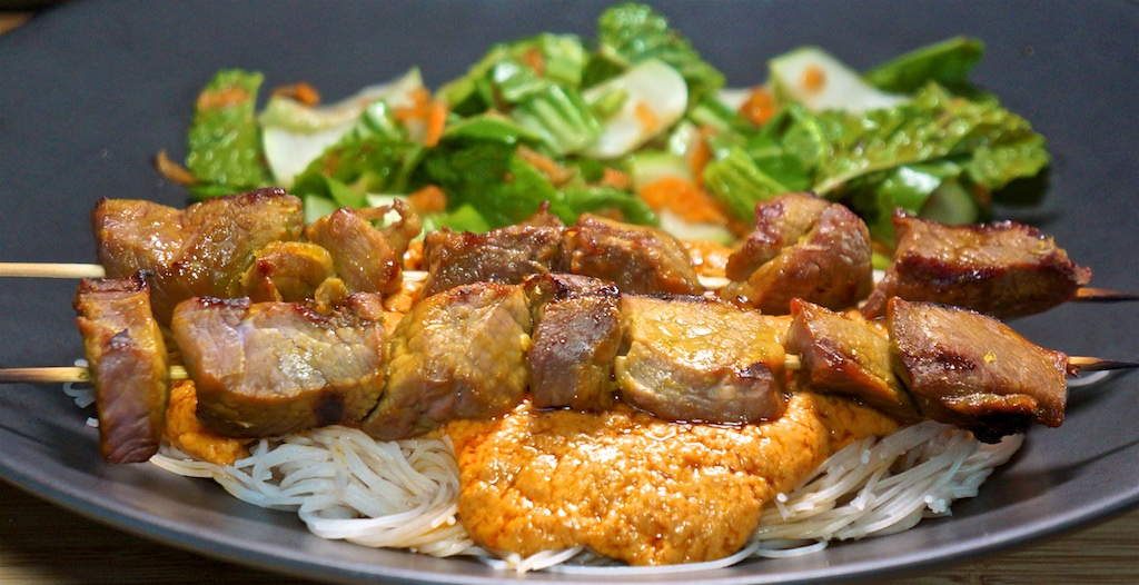 Aug 3: Avocado and Sardine Sandwiches; Beef Satay with Peanut Sauce, Vietnamese Slaw and Rice Noodles