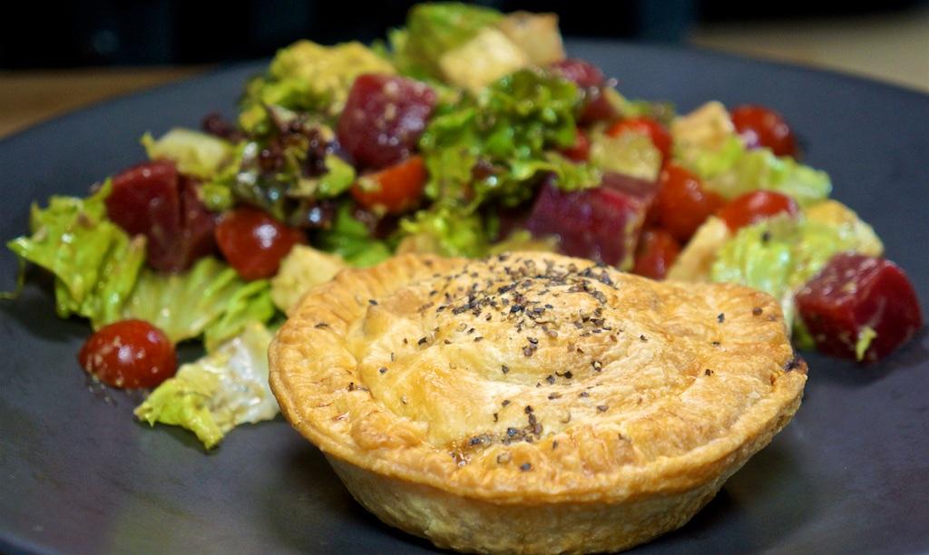 "Aug 5: Pork Larb and Vietnamese Salad Wrap; Meat Pie with ""Aussie"" Salad"