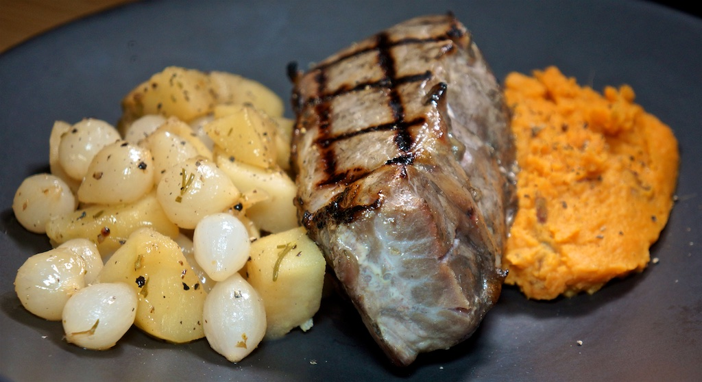 Aug 24: Sardine and Avocado Sandwich; Thick Cut Pork Chop with Apple Cider Braised Pearl Onions and Sweet Potato Mash