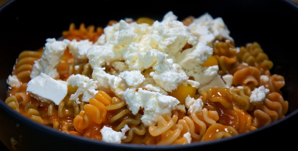 Aug 28: Double Double; Pasta with Fresh Tomato Sauce and Feta