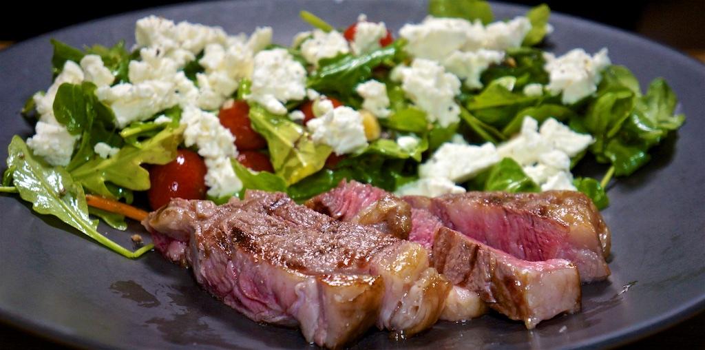 Aug 31: Pastrami, Spicy Labné & Tabouli, Hummus & Crunchy Mediterranean Salad; Rib Eye with Salad