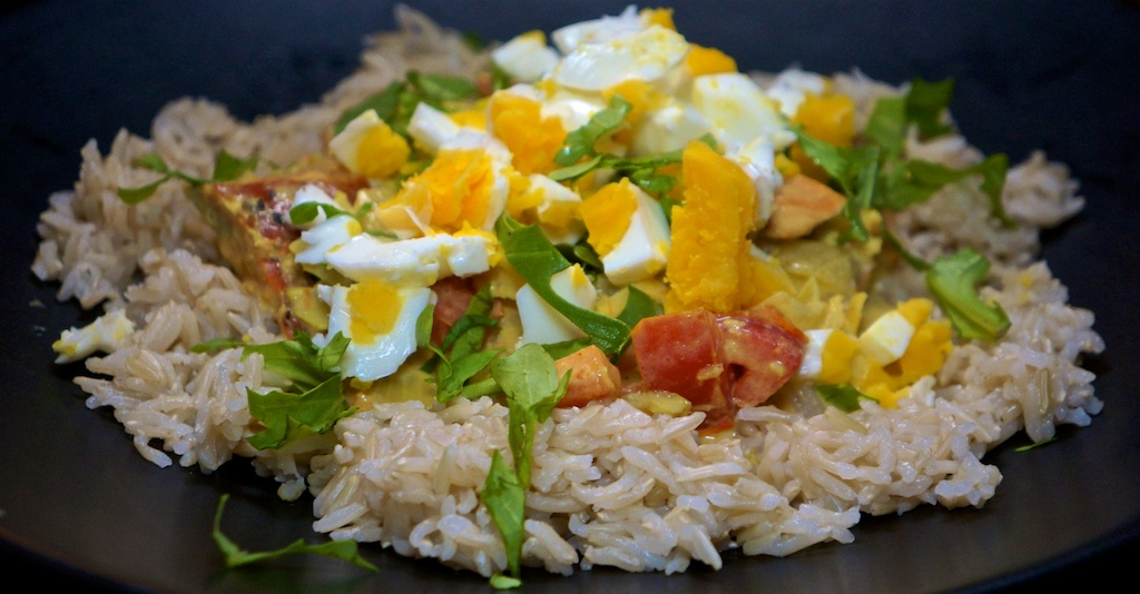 Oct 4: Tomato & May, Corned Beef, Tabouli & Spicy Labné; Kedgeree with Brown Rice