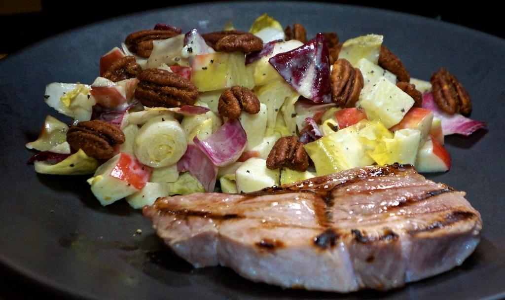 Oct 7: Smoked Salmon Sandwich; Pork Chops with Endive and Apple Salad