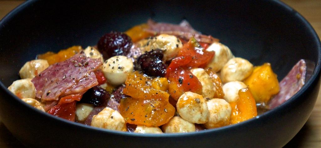 Oct 14: Bahn Mi; Tomato, Mozzarella, Salami and Black Olive Salad