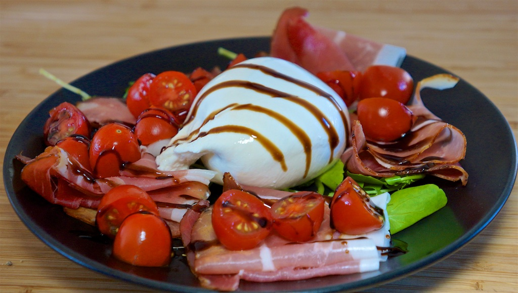 Dec 3: Burrata, Prosciutto & Cherry Tomatoes; Frogmore Stew