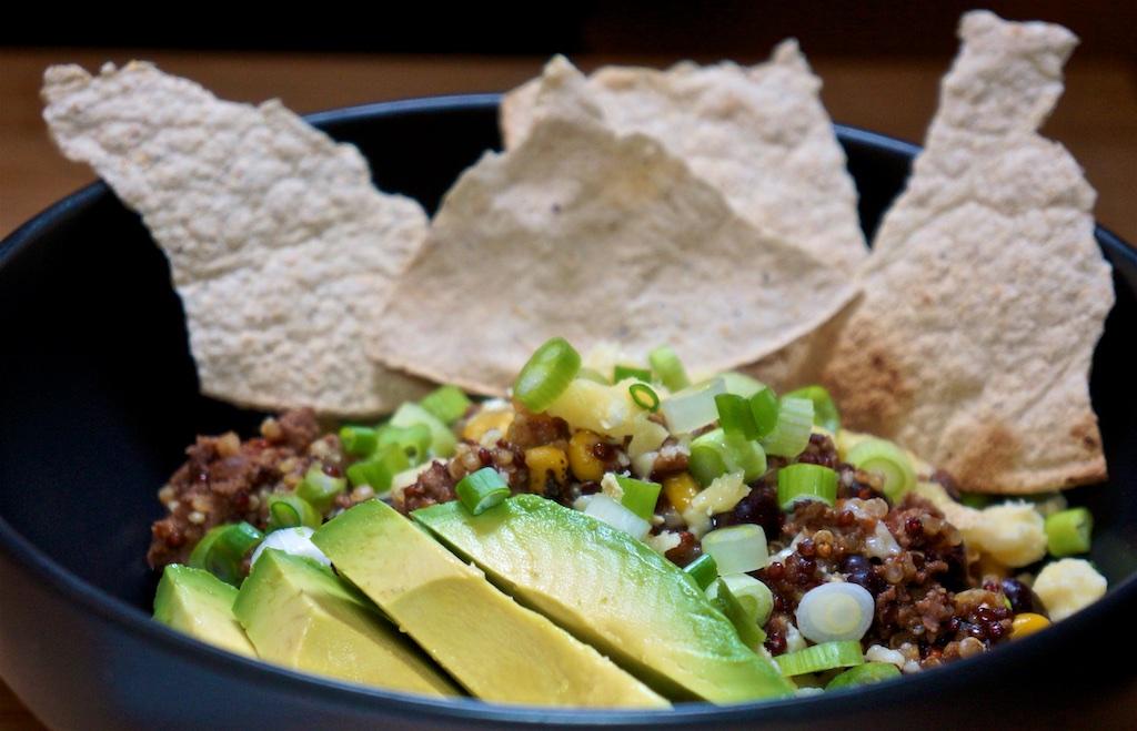 "Feb 13: Kabocha Squash & Ham Quiche; Mexican Quinoa ""Chili"" with Tostadas"