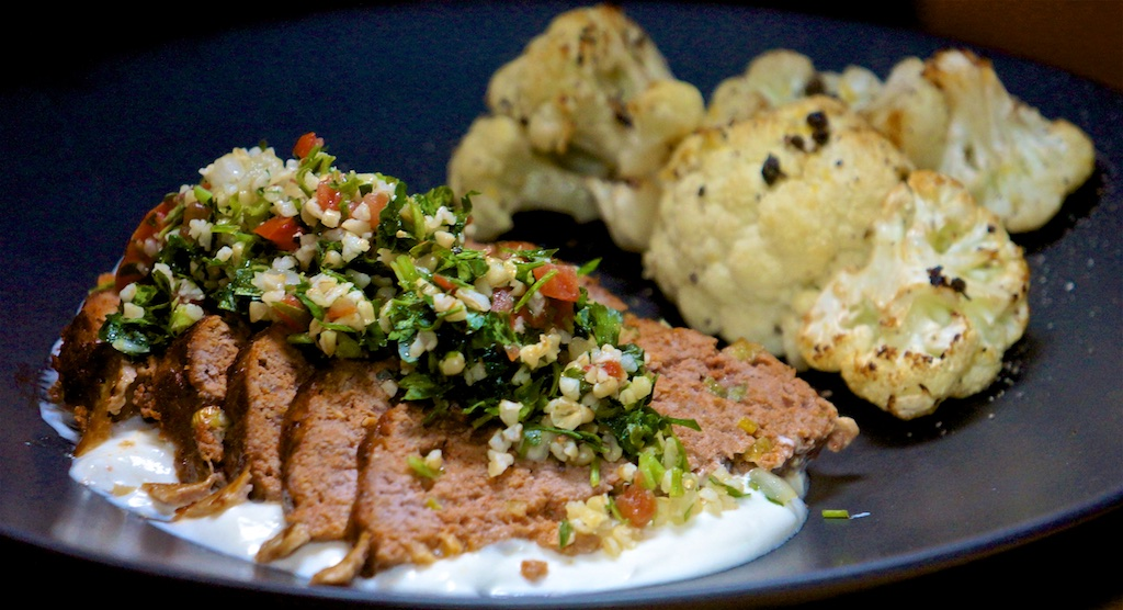 Feb 15: Ham, Brie & Watercress Rolls; Lamb Meatloaf with Yogurt Sauces, Tabouli and Roasted Cauliflower