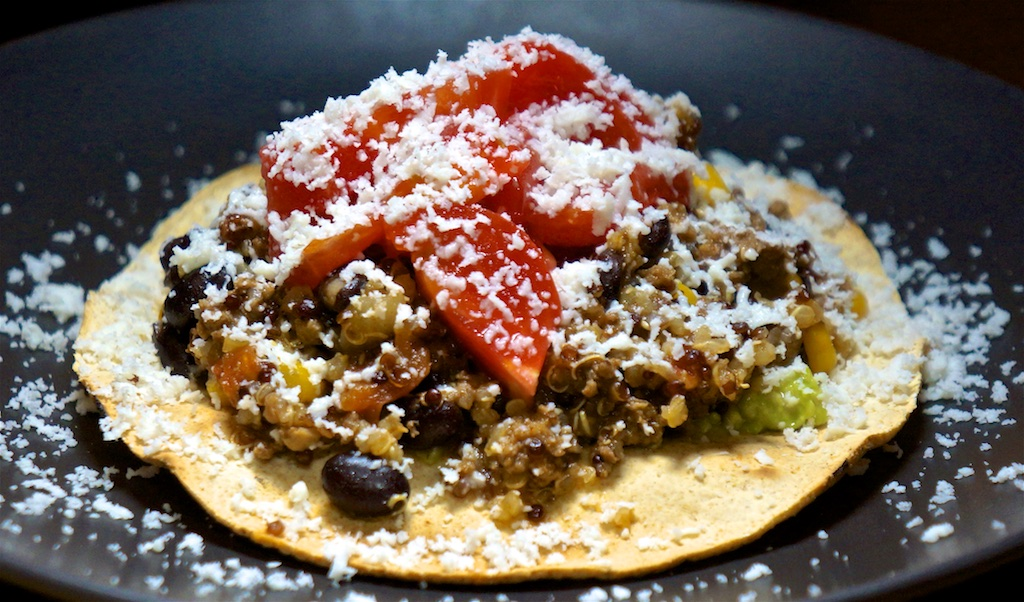 Feb 17: Popeye's Chicken with Salad; Tostadas with Mexican 'Chili', Avocado, Tomato and Cotija