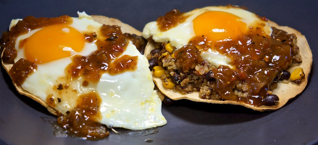 Feb 25: Mexican Chili, Fried Egg on Baked Tostadas; Choucroute (Repeat)