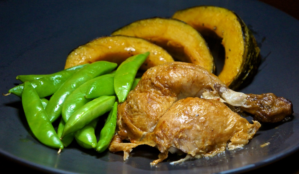 Feb 26: Double Double; Roast Chicken Leg with Kabocha Squash and Sugar Snap Peas