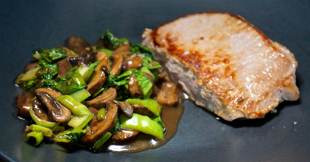 Mar 23: In and Out Burger; Pork Chops with Mushroom and Bok Choy Stir Fry
